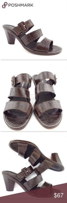 DONALD J PLINER Alligator Slide Sandals from Italy DONALD J PLINER Brown Alligator Print Leather Tri-Strap Slide Sandals Size 8 1/2 Medium  Made in Italy Light wear and excellent looking! All actual photos of the item. Donald J. Pliner Shoes Sandals