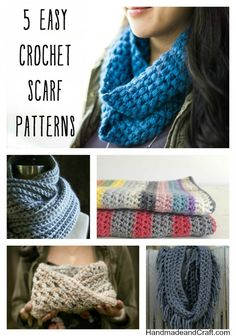 5 Easy Crochet Scarf Patterns...these are perfect for an evening project! #diy #crochet #pattern