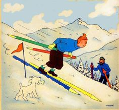 Tintin skying on pencils. RARE ILLUSTRATION by Hergé, created as the illustration on a Belgian pencil box