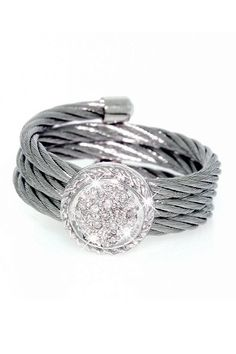 ItalGem Stainless Steel & Diamond Circle Cable Ring
