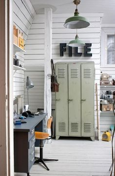 These industrial living room design ideas are going to be the next best idea when it comes to changing your living room! Industrial Interiors, Industrial Living, Industrial Office, Industrial Lockers, Metal Lockers, Boy Room, Kids Room, Vintage Lockers, Office Workspace