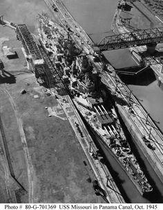 USS Missouri passes through the Panama Canal
