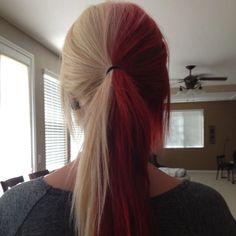 Two Color Hair, Hair Color Purple, Hair Dye Colors, Color Red, Split Dyed Hair, Half Dyed Hair, Dyed Red Hair, Half And Half Hair, Hair Streaks