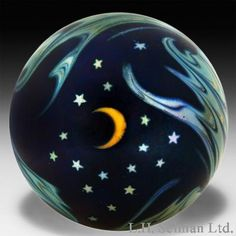 Lundberg Studios Paperweights Modern 1987 surface design w/moon, stars waves [owned] Art Of Glass, Marble Art, Glass Marbles, Glass Paperweights, Moon Art, Glass Globe, Glass Ball, Crystal Ball, Paper Weights