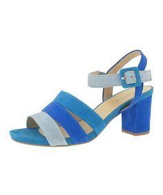 Another great find on #zulily! Blue Tri-Strap Leather Sandal - Women by Gabor #zulilyfinds
