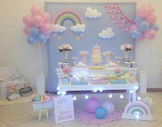 """Aluguel - Decoração Chuva de Amor/Benção Com Arco Iris Para proporcionar ao Cliente uma excelente experiência de compra, será necessário antes de clicar no botão - Comprar este Produto e Efetuar o Pedido, clicar primeiro em """" CONTATAR O VENDEDOR """", com isto esclarecer todas as dúvidas, e ver a... First Birthday Party Themes, Rainbow Birthday Party, Baby Girl Birthday, Unicorn Birthday Parties, Unicorn Party, Rain Baby Showers, Baby Shower Parties, Rainbow Party Decorations, Birthday Party Decorations"""