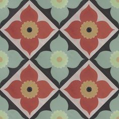 Poppy Mint and Coral Diagonal Decorative Peel and Stick Decal (repeat in 24x24)- repositionable, temporary vinyl floor decal