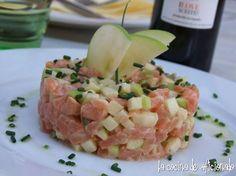 la cocina de aficionado: Tartar de salmón y manzana Tartar Salmon Aguacate, Sashimi Sushi, Barbacoa, Ceviche, Canapes, Tapas, Pasta Salad, Potato Salad, Seafood