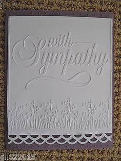 Elegantly Scripted with Sympathy Embossing Folder Stampin Up Circle Stamp | eBay