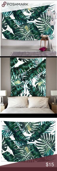 """Wall tapestry: green leaf Home decor tapestry: Nature  •Material: Polyester cotton fabric  •Size: 80""""H x 60""""W (150 x 200 cm)  •Tree leaf tapestry can be used as picnic blanket,bed cover,beach towel,yoga mat,table cloth,curtain and other room decor. Grace the walls of your home with this moroccan-inspired tapestry. Other"""
