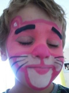 Pink Panther Face Painting.