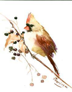 Female Bird cardinal original watercolor painting by ORIGINALONLY