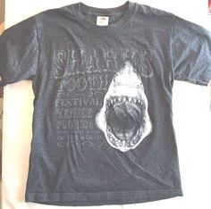 Kid's Shark T Shirt Venice Florida Shark Tooth Festival Youth Lg Charcoal Gray  #FruitoftheLoom #Everyday
