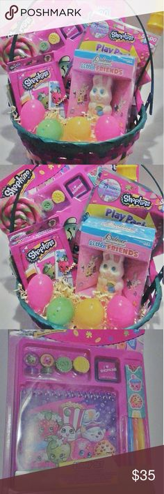 Shopkins Easter Basket Comes with: -jelly bean filled plastic eggs  -1 Press-on Nail Set -1 Coloring & Activity Book w/ crayons  -1 Bubble Wand -1 Stamp Set  -1 book of Stickers -1 Swirl Lollipop  -1 jumbo playing cards -1 Grab & Go Play Pack  -1 small white chocolate bunny -1 pk bunny peeps  -1 basket w/ 2 shopkins Comes gift wrapped!!!! Other