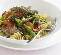 Hot BBQ Beef, Horseradish and Pasta Salad- easier than it looks and tastes great! #GlutenFree :)