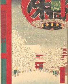 "Utagawa Hiroshige (Japanese, 1797–1858). Kinryūsan Temple at Asakusa, from the series ""One Hundred Famous Views of Edo,"" 1856. #TheMet #Hiroshige #snowday"