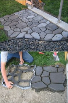 EASY DIY CONCRETE COBBLESTONE PATH Tutorial=> http://diyfunideas.com/easy-diy-concrete-cobblestone-path/ Revamp your yard with this SUPER EASY concrete cobblestone path!! #home #homedecor #homedecorating #diy #diyproject #diydecor #diydecorating #diyho...