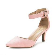 e15d5792ccc0cf Dream Pairs Women s Lowpointed Pink Suede Low Heel Dress ... Pink Dress  Shoes