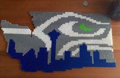 Seattle Seahawks perler bead art. Finished!