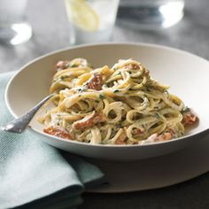 This elegant pasta has only a few ingredients, but together they make an incredibly satisfying supper. The dish requires nothing more than a big green salad as accompaniment. If you want to truly gild the lily, spoon fat pearls of salmon caviar or tiny, crunchy tobiko (flying-fish roe) onto each serving. Prep and Cook Time: about 20 minutes.