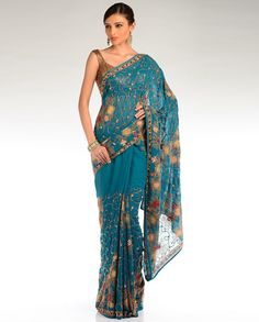 Teal Blue Embroidered Floral Sari