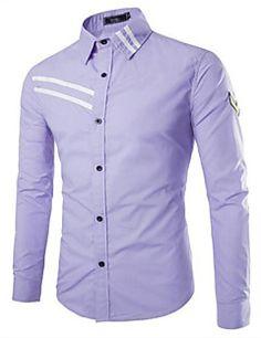 Langærmet+Farveblok+Mænds+Skjorte+Fritid+Bomuld+–+DKK+kr.+113