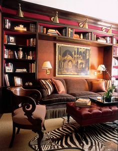 """Classic Library Design Ideas:""""Red libraries are best!"""" says designer Alessandra…"""
