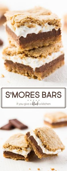 marshmallow fluff recipes This s'mores bars recipe is perfect for summer! The graham cracker dough hugs marshmallow fluff and thick chocolate bars. Each bite is oozing with flavor, it's better than real s'mores! Fudge Recipes, Frosting Recipes, Sweets Recipes, Easy Desserts, Baking Recipes, Bar Recipes, Summer Desserts, Graham Crackers, Graham Cracker Cookies