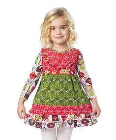 Love this Red & Green Holiday Bri Dress - Toddler & Girls on #zulily! #zulilyfinds