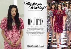 "Who Are You Wearing: Jun Ji Hyun's pink bling dress in ""The Legend of the Blue Sea"" Episode 1 Korea Fashion, Blue Fashion, Asian Fashion, Jun Ji Hyun Fashion, My Sassy Girl, Bling Dress, Sea Dress, Pink Bling, Women's Fashion Dresses"
