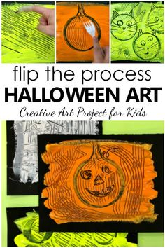 Flip the painting process with this fun Halloween art project for kids. Experiment with removing paint as part of this Halloween process art activity. Halloween Kunst, Halloween Art Projects, Halloween Artwork, Halloween Books, Halloween Pictures, Halloween Themes, Projects For Kids, Halloween 2020, Kids Crafts