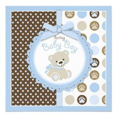Teddy Bear Boy Baby Shower Blue 2 Personalized Invite