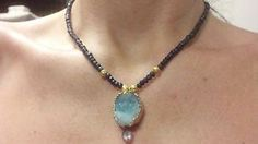 Genuine Sapphire, Druzyand Amethyst necklace 22kt solid gold beads STUNNING
