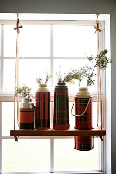 Unique DIY Window Treatment Ideas- for your vintage thermos collection-- Window Shelves, Hanging Shelves, Diy Hanging, Display Shelves, Diy Shelving, Hanging Table, Hanging Plant, Window Hanging, Room Window