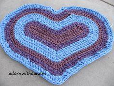 Bluesy Heart crocheted heart shape rag rug eco by adornwithaandm, #ragrug, #crochetedrug, #heartrug, #loverug