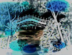 Turquois Oriental Scenic Janpanes Garden Printable Download Wall Decor Gift Idea For Ladies Unique Print Decorative Artwork Etsy UK Shop Art Scenic, Oriental, Etsy Uk, Garden Bridge, Decoration, Handmade Crafts, New Art, Lady, City Photo