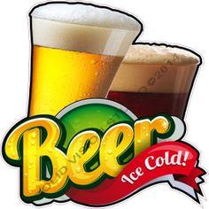 "24"" Ice Cold Beer Ale Beverage Concession Trailer Pub Restaurant Bar Sign Decal"