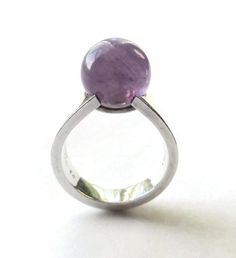 1968 Hans Hansen amethyst ball modernist ring, sterling silver, Bent Gabrielsen, Scandinavian silver, London import, 1960s space age, #934.