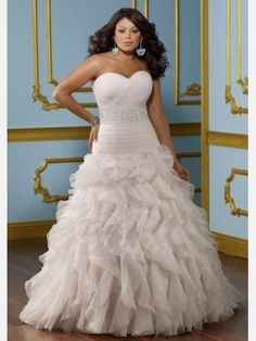 Ruffled A-line Wedding Dress | A-line Sweetheart Ruffled Plus Size Wedding Dress - Didobridal