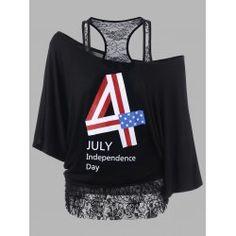 Plus Size Lace Panel Funny of July T-Shirts Plus Clothing, Trendy Plus Size Clothing, Plus Size T Shirts, Plus Size Outfits, Plus Size Fashion, Plus Size Romper, Plus Size Swimwear, Funny 4th Of July, Fashion Seasons