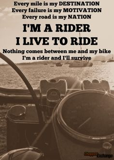 I'm a rider and I live to ride! #chopperexchange #bikerlife #ridetolive #quotes