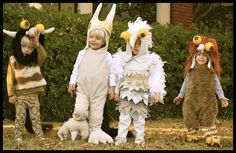 Bookish Halloween costumes for children: Where the Wild Things Are group costume.