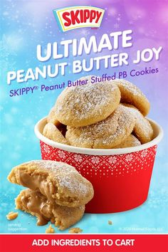 Skippy Peanut Butter, Peanut Butter Desserts, Peanut Butter Cookie Recipe, Cookie Desserts, Easy Cookie Recipes, Sweet Recipes, Baking Recipes, Dessert Recipes, Christmas Cooking