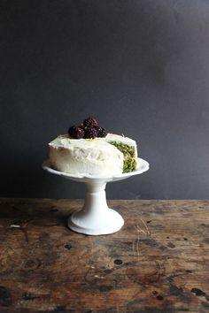 Nettle Lemon Cake with Lemon Icing and Blackberries
