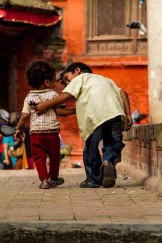 Beautiful photo of children walking