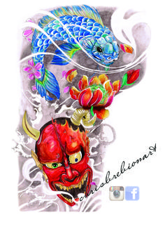 Japanese sleeve design, Dragon-Koi/Hannyah  (watercolor)  http://instagram.com/chrisbrebionart/ https://www.facebook.com/ChrisBrebionArt