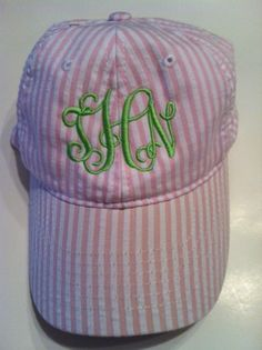 Pink and white seersucker monogrammed hat EmbroiderybyAndra at Etsy.com
