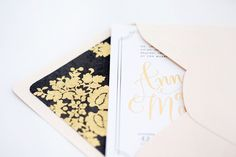 Gold, black and blush pink invite suite by Paper Bloom (via Oh So Beautiful Paper).