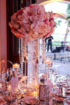 luxury tall arrangements, monet candlelight, phaleanopsis, white and blush