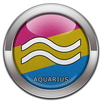 Aquarius - Pansexual Pride  Button by lovemystarfire